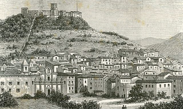 Bosa: Veduta del paese e del soprastante Castello dei Malaspina, xilografia di Barberis